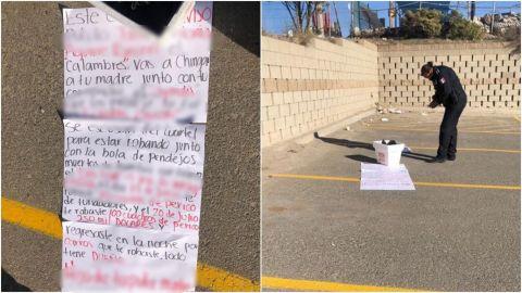 Dejan restos y narcomanta con mensaje para policía baleado en Santa Fe
